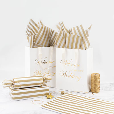 Metallic Gold Stripe Print Tissue Paper Bulk for Gift Wrap, Art Crafts, DIY, Pack Bags - 19.5 x 27.5 Inches - 25 Sheets