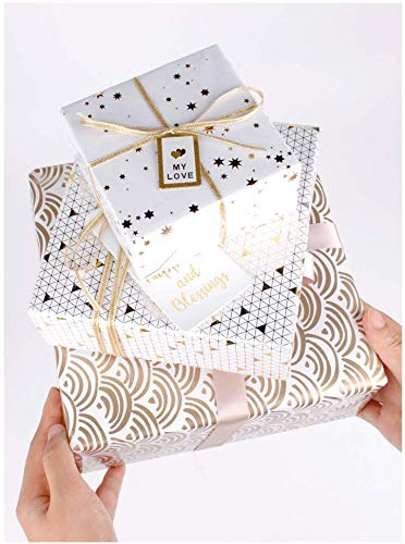 Wrapaholic-Gold-Foil-Printing-Gift-Wrapping-Paper-Roll-5-Rolls-Set-White-4