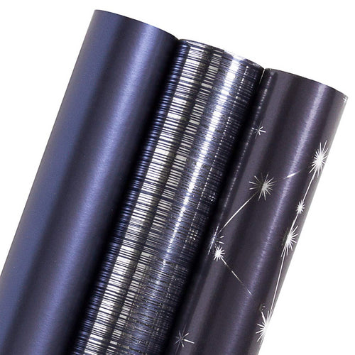 WRAPAHOLIC-Navy-Blue-Stars-Business-Wrapping-Paper-Roll-3 Rolls-Set-1
