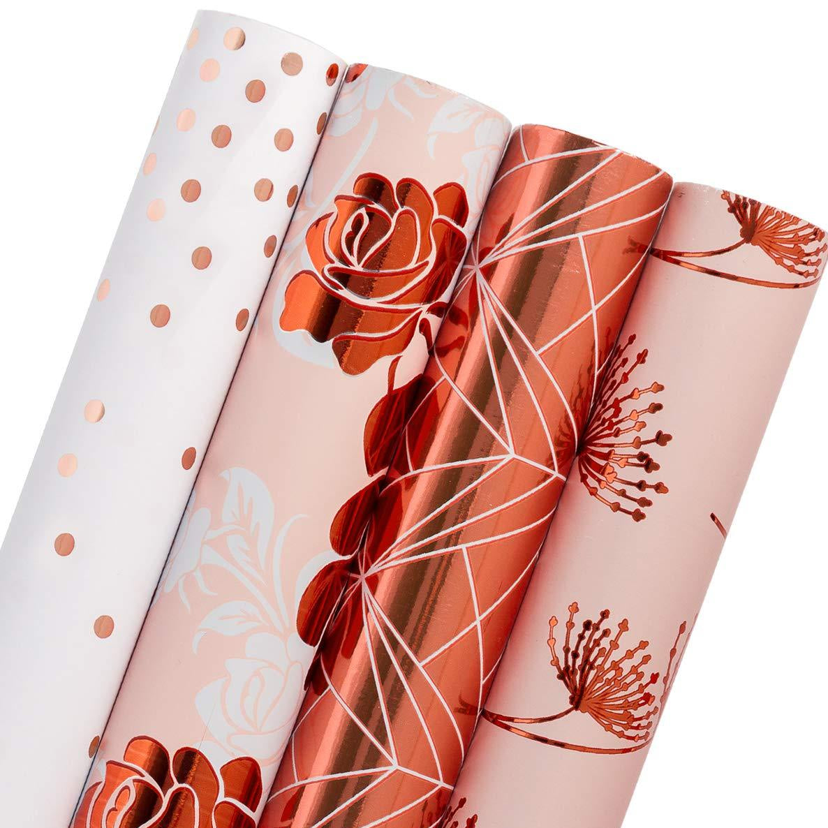 WRAPAHOLIC-Rose-Gold-Foil-Gift-Wrapping-Paper-Roll-4-Rolls-Set-1