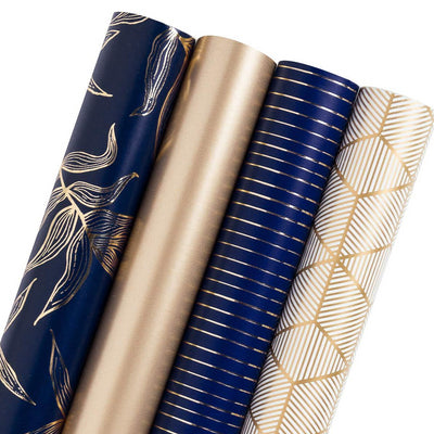 Gold & Navy Blue Gift Wrapping Roll, 4 Rolls/ Set