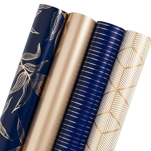 Wrapaholic Botanical Leaf Gold Foil & Matte Gold & Stripes Gift Wrap Roll, 4 Rolls/ Set