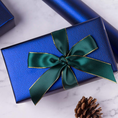 Wrapaholic-Matte-Navy-Gift-Wrapping-Paper- Navy-Blue-Lychee-Leather-Grain-3