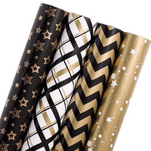 Wrapaholic-Black-Gold-Stars-Gift-Wrapping-Paper-Roll-4-Rolls-Set-1
