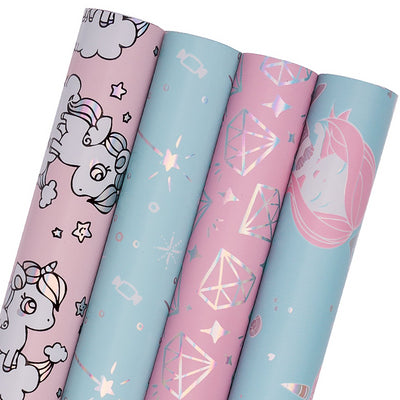 Fantasy Gift Wrapping Paper Roll, 4 Rolls/Set