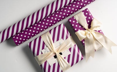 "Dots-Gift- Wrapping-Paper-Reversible-Purple-30"" x33 feet-Continue-Roll-4"