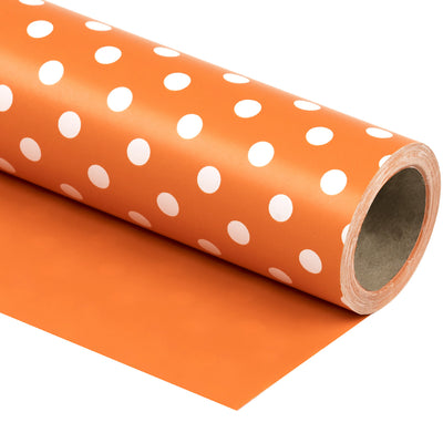 "Dots -Gift -Wrapping-Paper, Reversible,Orange- 30"" x33 feet-Continue-Roll-1"