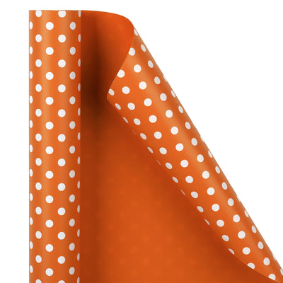 "Dots -Gift -Wrapping-Paper, Reversible,Orange- 30"" x33 feet-Continue-Roll-2"