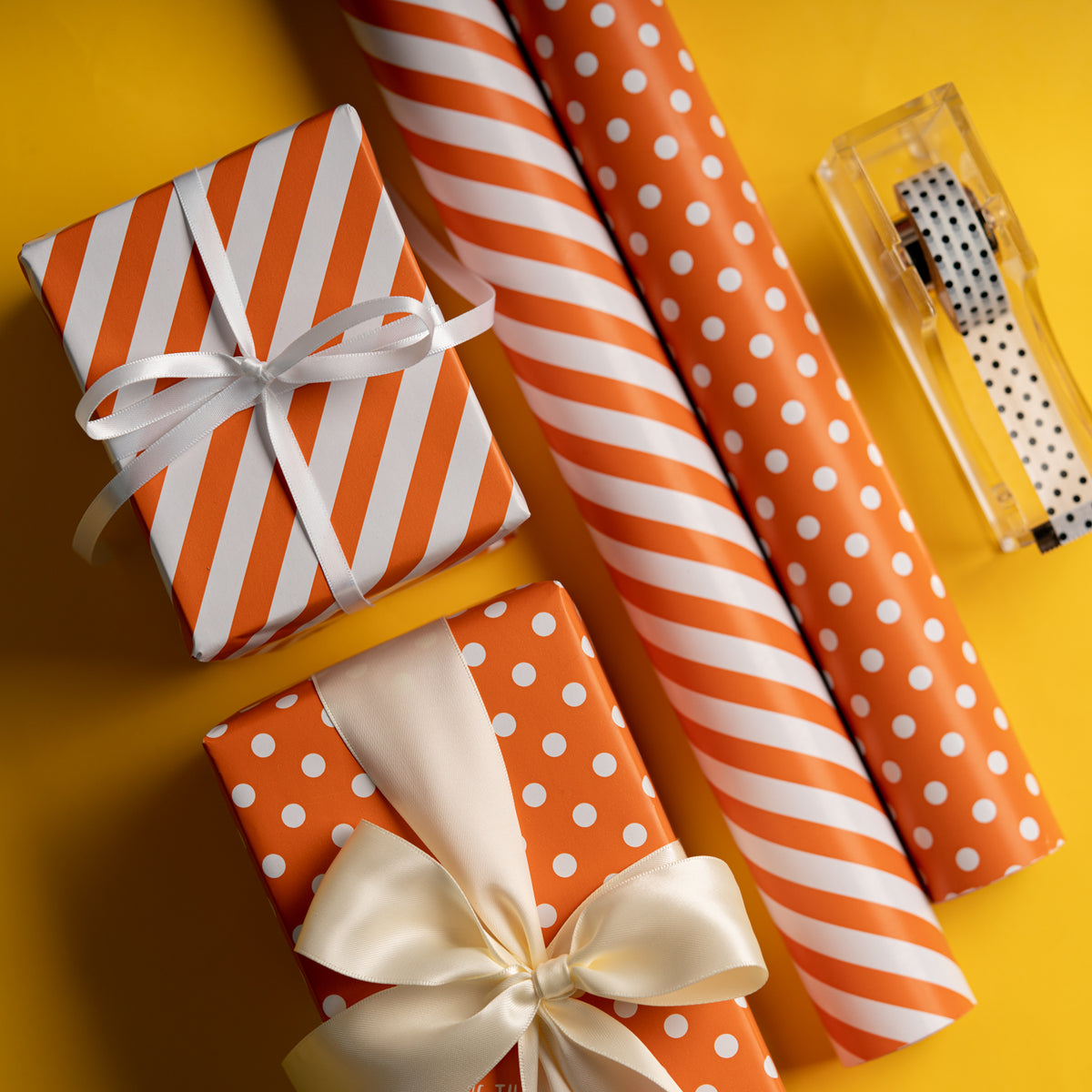 "Dots -Gift -Wrapping-Paper, Reversible,Orange- 30"" x33 feet-Continue-Roll-3"