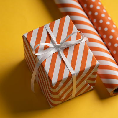 "Dots -Gift -Wrapping-Paper, Reversible,Orange- 30"" x33 feet-Continue-Roll-4"