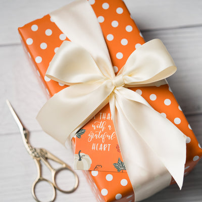 "Dots -Gift -Wrapping-Paper, Reversible,Orange- 30"" x33 feet-Continue-Roll-5"