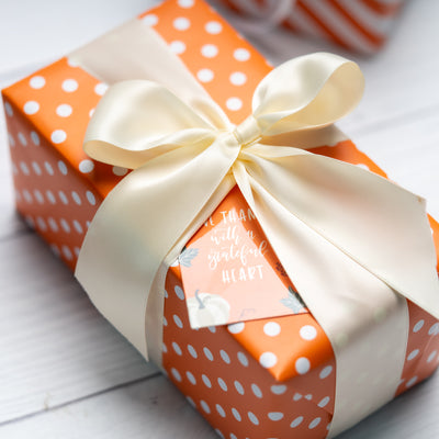 "Dots -Gift -Wrapping-Paper, Reversible,Orange- 30"" x33 feet-Continue-Roll-6"