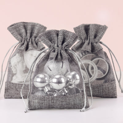 Burlap Drawstring Gift Bag - 4 x 5.5 inch - Grey
