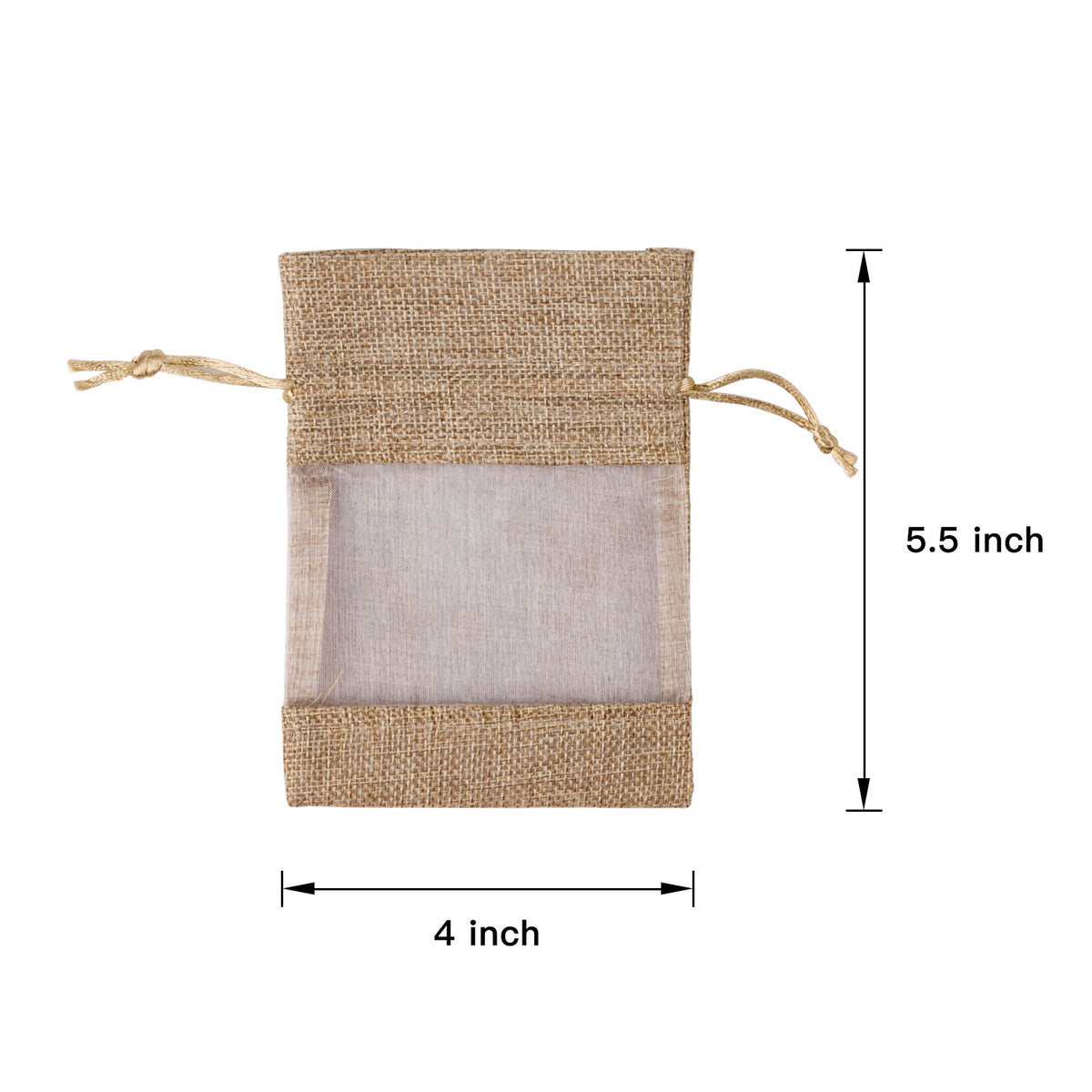 WRAPAHOLIC-Burlap-Drawstring-Gift-Bag-4 x 5.5 inch-Tan