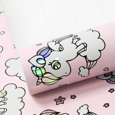 Wrapaholic Cute Rainbow Pony Design with Colorful Foil Gift Wrapping Paper Roll