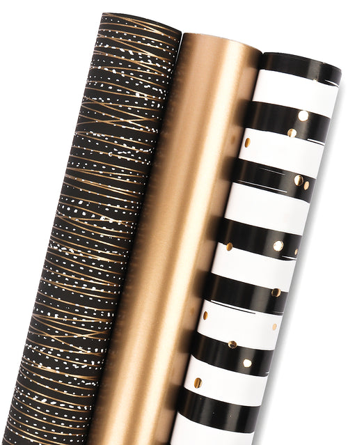 Wrapaholic-3- Different-Black-Gold-Stripe-Design-Wrapping-Paper -Roll-(14.4 sq. ft.TTL.)-1