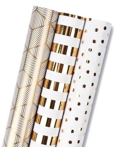 Wrapaholic-3-Different-Gold- and-White-Set- Wrapping- Paper-Roll-(14.4 sq. ft.TTL.)-1