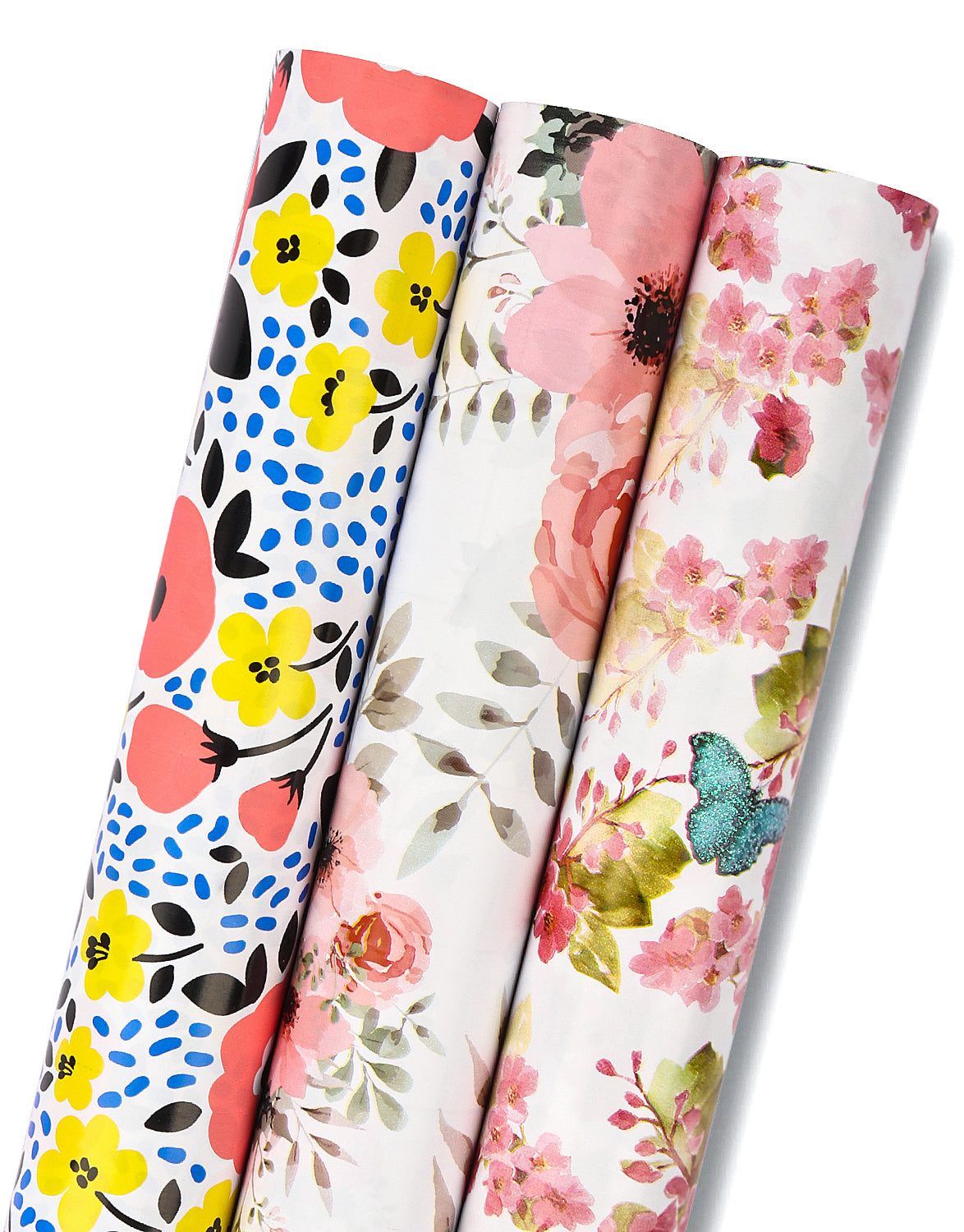 Wrapaholic-3 Different-Floral- and-Butterfly-Design-Wrapping-Paper -Roll-(14.4 sq. ft.TTL.)-1