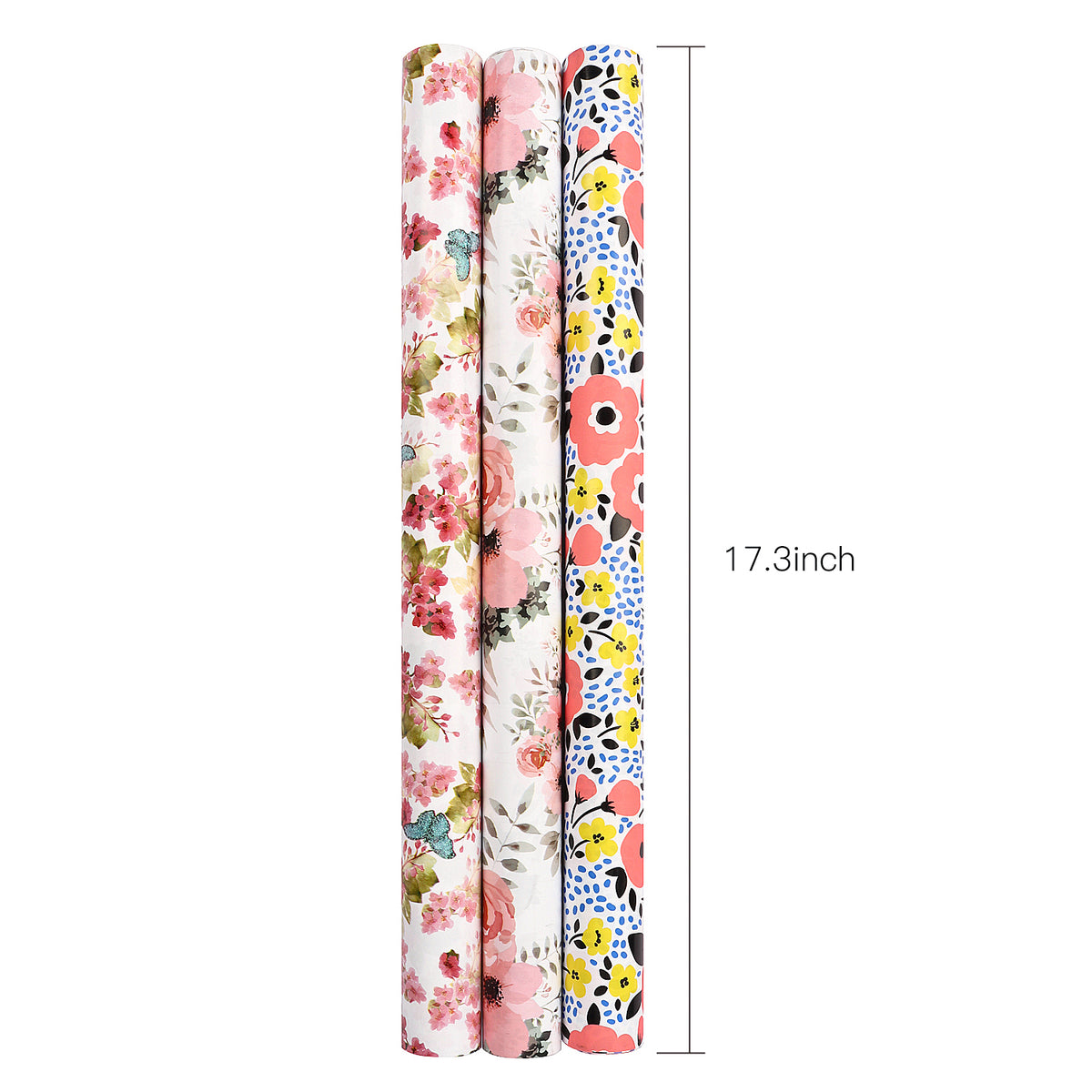 Wrapaholic-3 Different-Floral- and-Butterfly-Design-Wrapping-Paper -Roll-(14.4 sq. ft.TTL.)-5