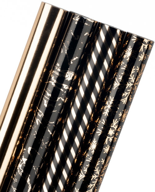 Wrapaholic- Balck-Gold -Snowflake-and-Marble-Design-with-Glitter-Matallic-Foil-Shine- Christmas-Gift-Wrapping- Paper-Roll-4 Rolls-1