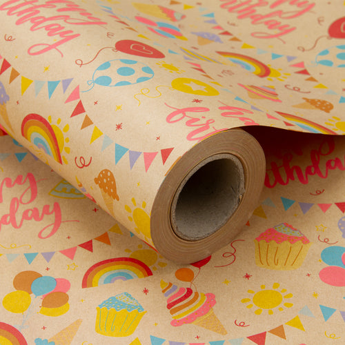 Wrapaholic-Birthday-Design-Brown- Kraft-Gift-Wrapping-Paper-1