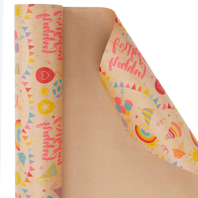Wrapaholic-Birthday-Design-Brown- Kraft-Gift-Wrapping-Paper-3