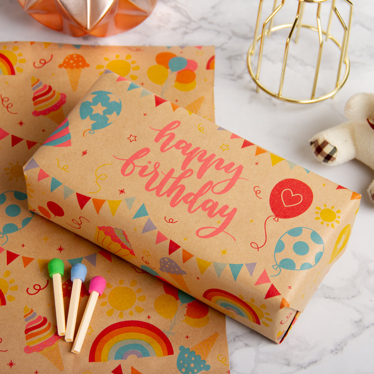 Wrapaholic-Birthday-Design-Brown- Kraft-Gift-Wrapping-Paper-5