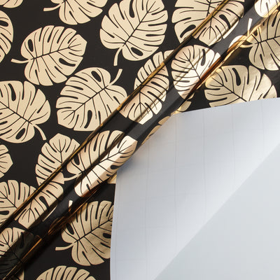 Wrapaholic- Black-and- Gold-Foil- Tropical-Palm- Leaves-Gift- Wrapping- Paper-Roll-2