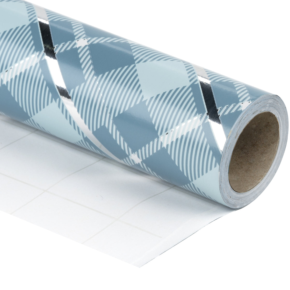 Wrapaholic-Blue-Grid-Holiday-Gift- Wrap-Design- with-Glitter- Matallic-Foil- Shine-Christmas-Gift-Wrapping-Paper Roll-1