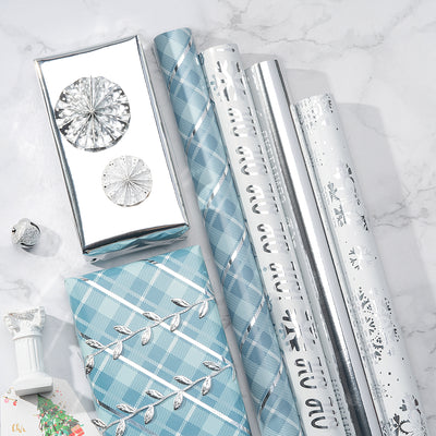 Wrapaholic-Blue-Grid-Holiday-Gift- Wrap-Design- with-Glitter- Matallic-Foil- Shine-Christmas-Gift-Wrapping-Paper Roll-4