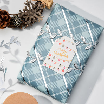 Wrapaholic-Blue-Grid-Holiday-Gift- Wrap-Design- with-Glitter- Matallic-Foil- Shine-Christmas-Gift-Wrapping-Paper Roll-5