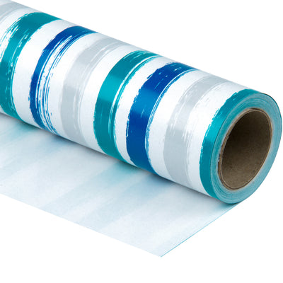Wrapaholic-Blue-Navy-and-Grey-Lines-Print- Gift-Wrapping-Paper-Roll-1