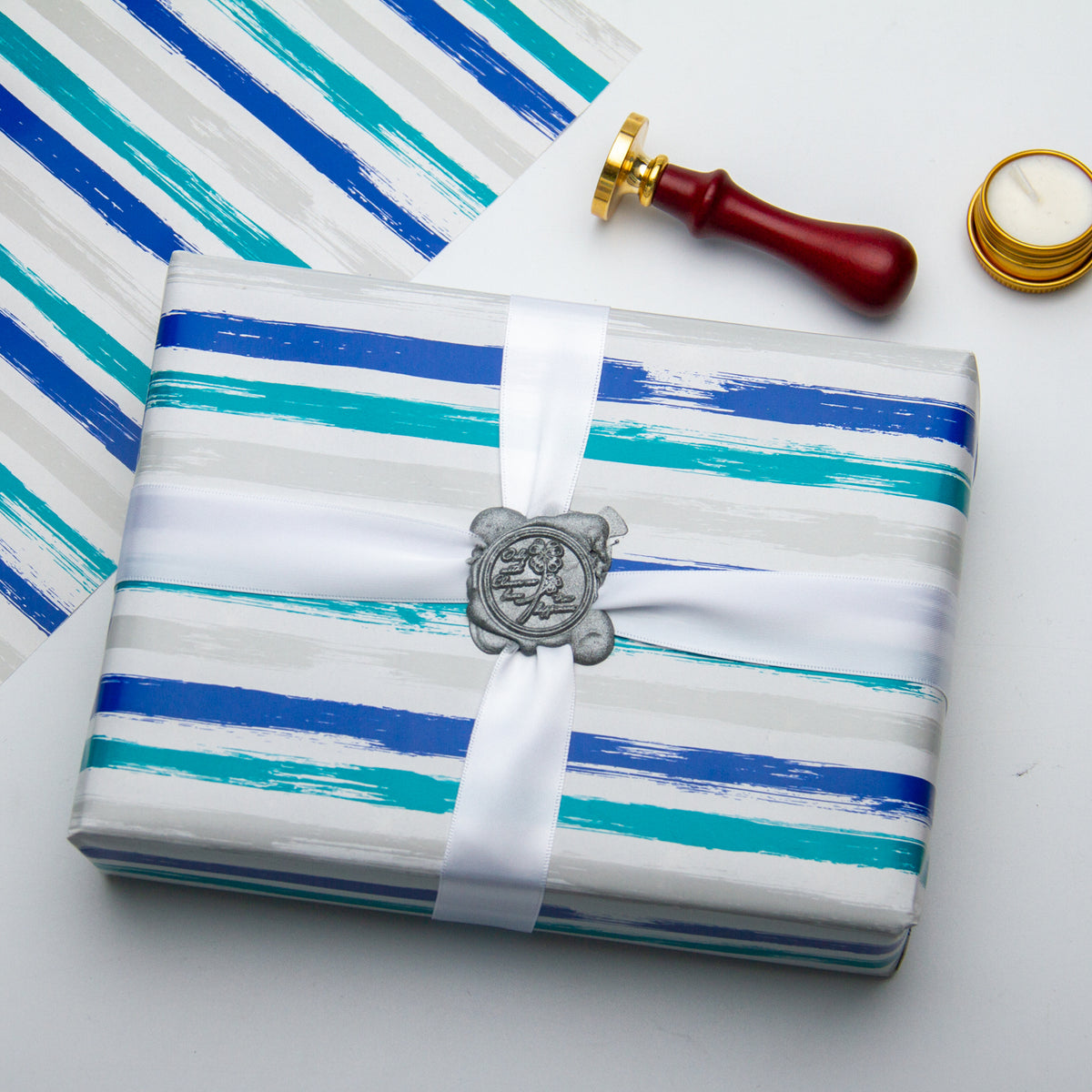 Wrapaholic-Blue-Navy-and-Grey-Lines-Print- Gift-Wrapping-Paper-Roll-4