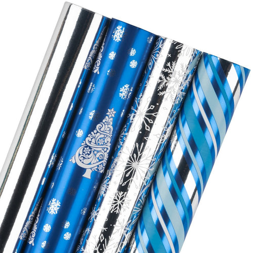 Wrapaholic- Blue-and-Silver- Snowflake-and Stripe-Set-with- Glitter-Metallic-Foil-Shine -Christmas-Gift-Wrapping- Paper-Roll-4 Rolls-1