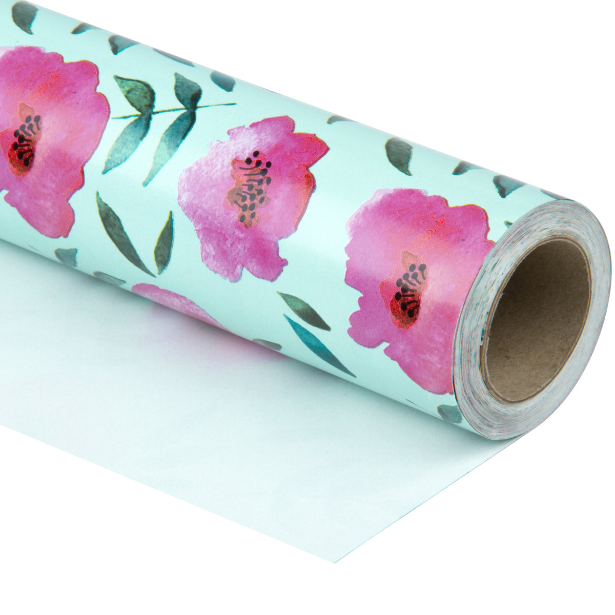 Wrapaholic-Blue Color-with-Rose-Pink-Floral-Design-Gift -Wrapping- Paper-Roll-1