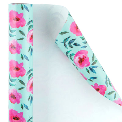 Wrapaholic-Blue Color-with-Rose-Pink-Floral-Design-Gift -Wrapping- Paper-Roll-2