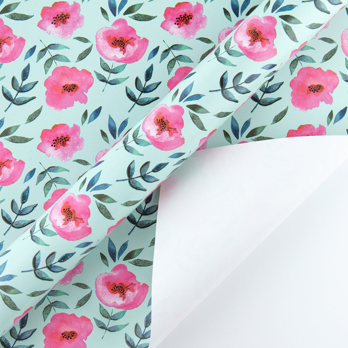 Wrapaholic-Blue Color-with-Rose-Pink-Floral-Design-Gift -Wrapping- Paper-Roll-3