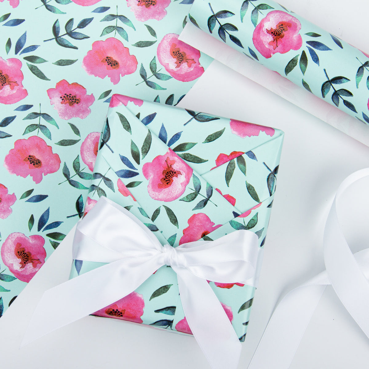 Wrapaholic-Blue Color-with-Rose-Pink-Floral-Design-Gift -Wrapping- Paper-Roll-4