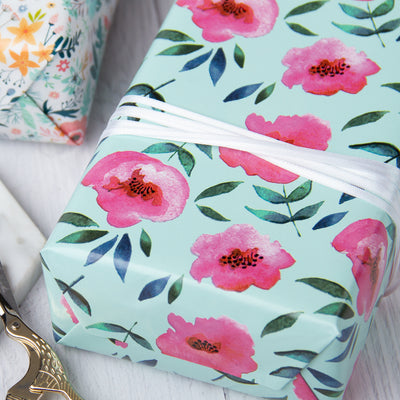Wrapaholic-Blue Color-with-Rose-Pink-Floral-Design-Gift -Wrapping- Paper-Roll-5