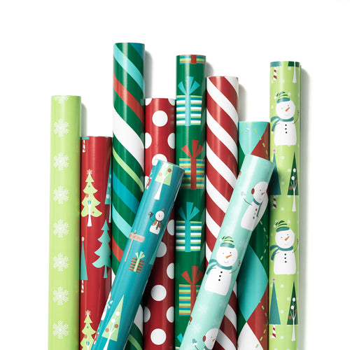 Wrapaholic-Christmas-Wrapping-Paper-Sheet-10 Different-Red and -Green Holiday-Design (75.3 sq. ft.ttl.) - 27.5 inch X 39 inch-Per-Sheet-1