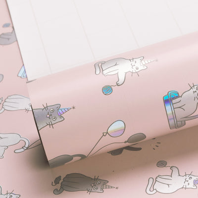 Wrapaholic-Cute-Cats- Design-with- Colorful-Foil-Gift -Wrapping-Paper-Roll-1