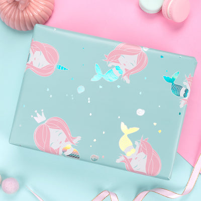 Wrapaholic-Cute- Mermaid-Design-Gift-Wrapping-Paper-Roll-4