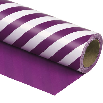 Wrapaholic- Dark-Purple- and-Stripes-Design-Reversible-Gift- Wrapping- Paper-1