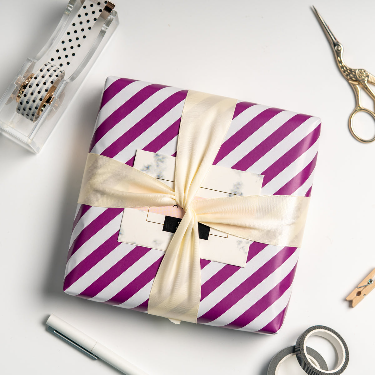 Wrapaholic- Dark-Purple- and-Stripes-Design-Reversible-Gift- Wrapping- Paper-5