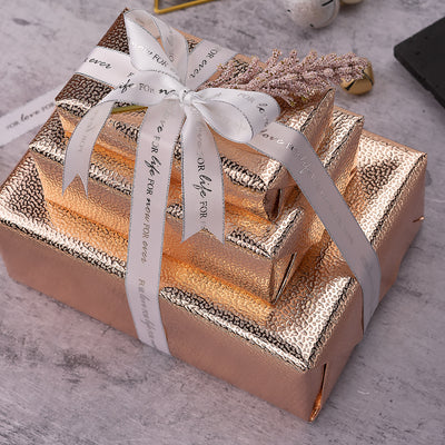 Wrapaholic-Embossing-Wrapping-Paper-Roll- Lychee-Leather Grain-Rosegold-5