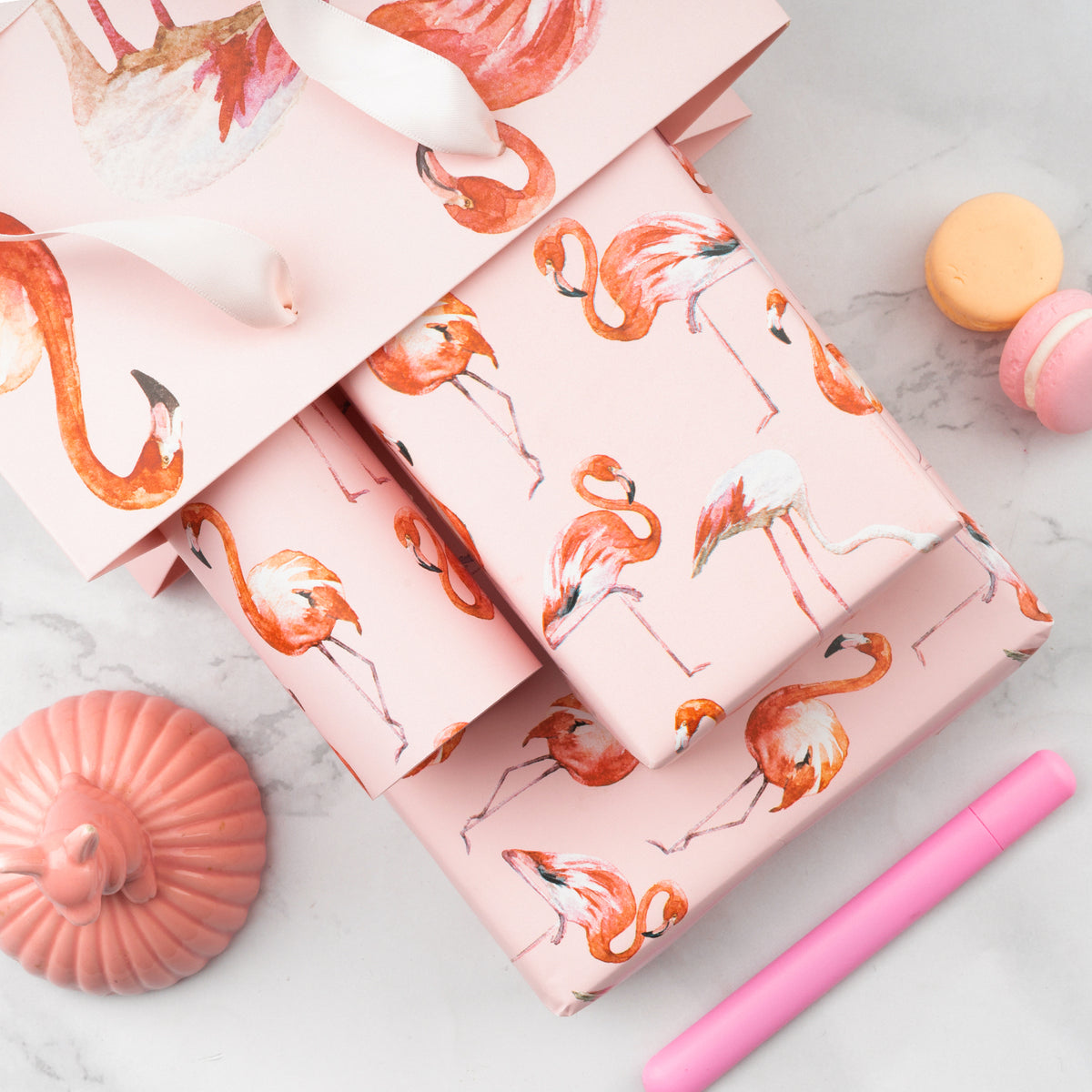 Wrapaholic-Flamingo-Design-with-Cut -Lines-Gift-Wrapping-Paper-Roll-7