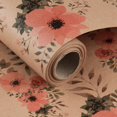 Wrapaholic-Floral-Patten-Kraft-Wrapping-paper-Roll-2