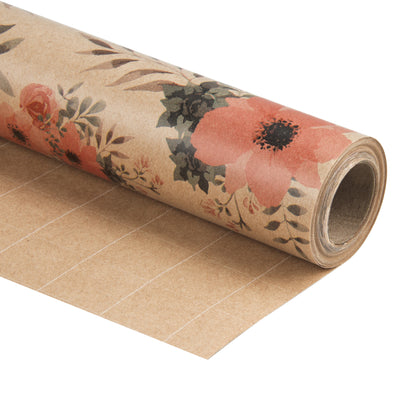 Wrapaholic-Floral-Patten-Kraft-Wrapping-paper-Roll-1