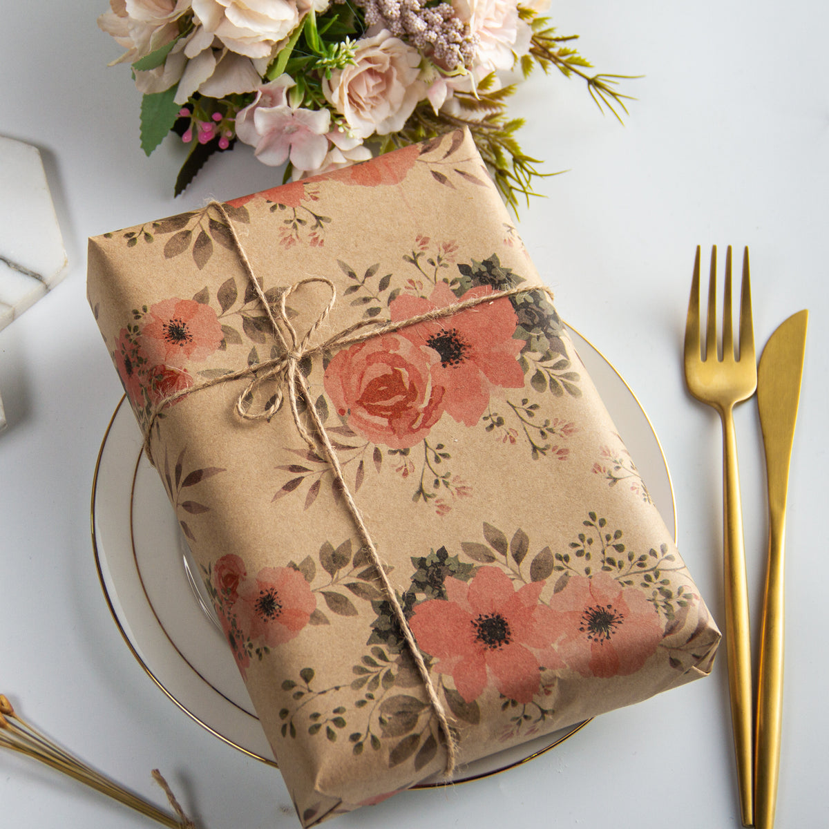 Wrapaholic-Floral-Patten-Kraft-Wrapping-paper-Roll-3