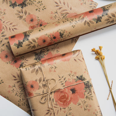 Wrapaholic-Floral-Patten-Kraft-Wrapping-paper-Roll-4